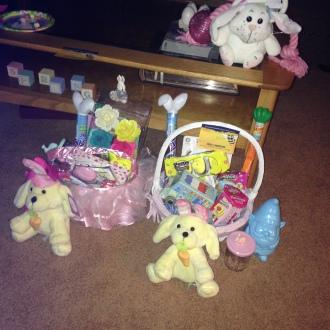 Bunnies, baskets, Eggs
